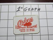 "Vintage Company Logo Patch - ""Oakes Equipment"" Houston / Dallas TX - NOS Mint"