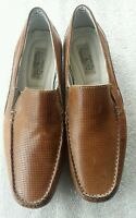 Mens Ocean Coast Brown Leather Moc Toe Perforated Loafers Slip-On Casual Shoes