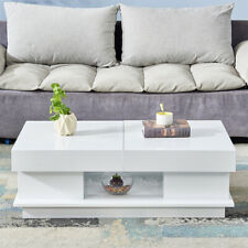 High Gloss Coffee Tea Table Storage Table Design Furniture Living Room White New