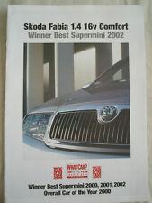 Skoda Fabia 1.4 16v Comfort What Car reprint brochure 2002