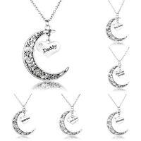 Mom Nana Charm Hollow Moon Heart Pendant Necklace Family Party Fashion Jewellery