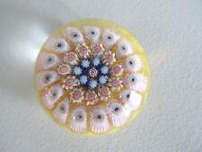 YSART / Vasart Miniature Millefiori Concentric Paperweight Mini Yellow Ground