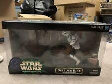 "Star Wars 12"" Inch Speeder Bike W/ Scout Trooper  NIB Power of the Force! 2000"