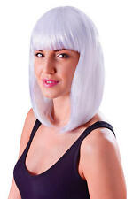 Ladies Shoulder Length White Wig & Fringe Lady Gaga Doll Space Cyber Fancy Dress
