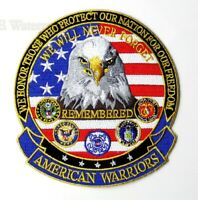 AMERICAN WARRIORS ARMY NAVY MARINES USAF EMBROIDERED PATCH 5 INCHES