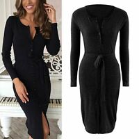 Hot Sexy Women Knitted Long Sleeve Single-breasted Button Up Bodycom Dresses