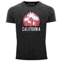 Herren T-Shirt California Palmen Santa Monica Beach Sommer Sonne Vintage Shirt