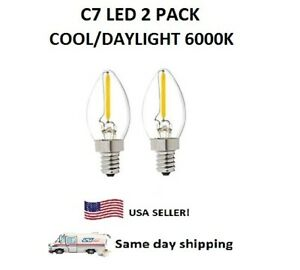 C7 E12 LED 120V Filament COOL 6000K night light Bulb,10 Watt Equivalent, 2 PACK