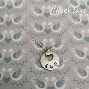 Hand made stamped sterling silver necklace with heart shaped pendant PoshTags
