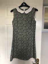 Mela Loves London Collar Dress Peter Pan Green Floral Size 12