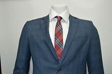 Men's Blue Glen Plaid 2 Button Slim Fit Suit SIZE 36S NEW