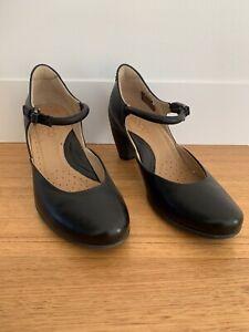 ECCO Women's Black Leather Ankle Strap Shoes Luxury Pumps Heels EU 37