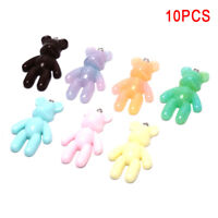 10Pcs/Set Cute Resin Colorful Bear Charms Pendants DIY Craft Jewelry MakingYEDE