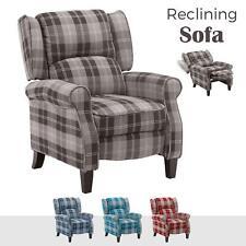 POLTRONA reclinabile ala posteriore Fireside tessuto check Sofa Sedia Poltrona Lounge Cinema