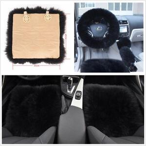 2xWool Fur Sheepskin Car Seat Covers+Steering Wheel/Shifter/Parking Brake Covers