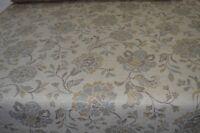 duck egg beige cream chenille upholstery fabric herringbone floral caravan sofa