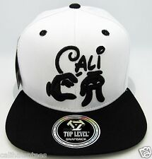 CALI Snapback Cap Hat California Republic Mickey Hands Flat Bill OSFM White NWT