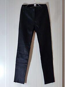 UNWORN BLACK LAMBSKIN STRETCH LEATHER LEGGINGS / TROUSERS UK Size 14 - BNWT