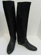 12903ca53ffeb LANVIN Black Leather and Pony Hair Knee High Wedges Boots Size 41