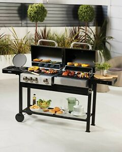Gardenline Dual Fuel BBQ Gas Charcoal Barbecue Large Outdoor Cooking Grill NEW🔥