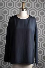 NWT Vince Sheer Panel Trim Blouse Medium M Coastal Blue $285 Silk Navy