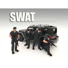 SWAT TEAM 4PC FIGURE SET FOR 1:24 AMERICAN DIORAMA 77468,77469,77470,77471