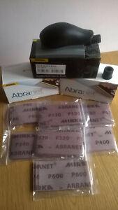 Mirka Abranet 35 x Mixed Strips + HAND SANDING BLOCK. 70x125mm Woodturning,