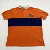 Polo Ralph Lauren Polo Shirt Mens L Orange Blue Short Sleeve sporting Goods