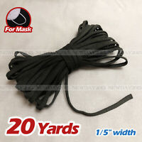 "20 yards 1/5""(5mm) Black Flat Elastic Band Cord Sewing For DIY Face Masks"