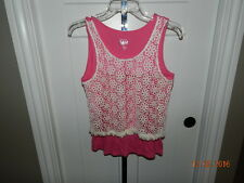 Justice Girls Tank Top - Size 18 Pink  with Ivory Crochet