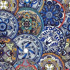 Fiesta Talavera Plates Fabric ~ 100% Cotton, Sewing, Quilting, BTHY