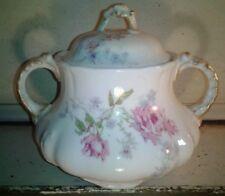WG Limoges Guerin Pink Floral Sugar Cube Bowl
