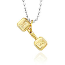 Gold Fashion Barbell Weight Plate Chain Pendant Necklace Dumbbell