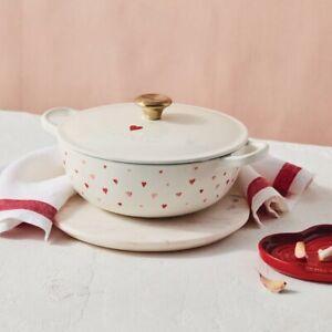 Le Creuset 2.75 QT Soup Pot with Heart Applique and Gold Tone Knob