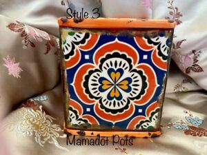 Mosaic Spanish Moroccan Orange Series Ceramic Planter Pot
