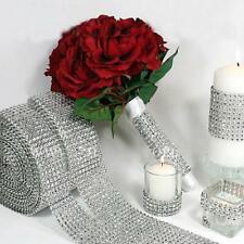 Wedding Diamond Mesh Wrap Roll Sparkle Rhinestone Looking Ribbon Silver