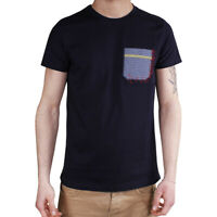 T-Shirt Uomo Maglia Mezza Manica Girocollo Casual Blu Taschino Cotone SARANI