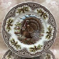 """THE VICTORIAN ENGLISH POTTERY (1) TURKEY THANKSGIVING 8.5"""" SALAD PLATE NEW!"""