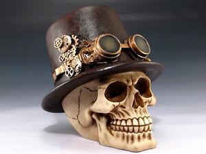Steampunk Skull Top Hat Figurine Statue Skeleton Halloween