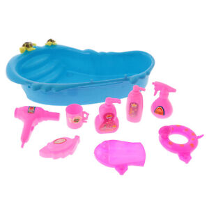 9Pcs Dollhouse Bathtub & Bath Supplies Set for Bathroom Accs