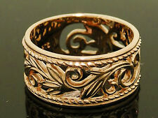 R066 Genuine 9K Heavy Solid Yellow Gold Filigree Botanical WIDE Band Ring size P