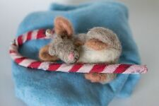 NEEDLE FELTED Candy Cane Sleepy Mouse Winter Christmas  WOOL NEW OOAK