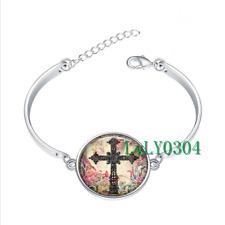 Antique Cross glass cabochon Tibet silver bangle bracelets wholesale
