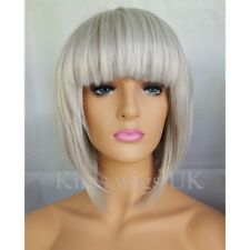 GREY BOB WIG LIGHT SILVER SHORT STYLE LADIES WOMENS FULL HEAD B38  UK