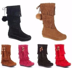 New Toddlers Girl Mid Calf 3 Layer Fringe Beads Boots