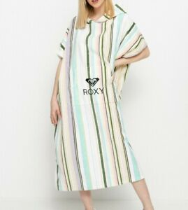 ROXY WOMENS PONCHO TOWEL.NEW STAY MAGICAL STRIPED HOODED BEACH CHANGING ROBE S21