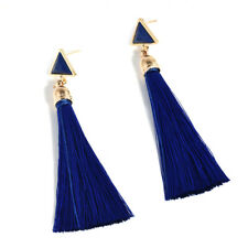 Women New Fashion Rhinestone Long Tassel Dangle Earrings Fringe Drop Earrings HS