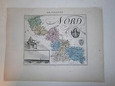 Carte 19°  couleur Migeon Le Nord (Dunkerque Watteau)