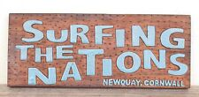 SURFING THE NATIONS - NEWQUAY, CORNWALL - Wooden Hand Carved Wall Plaque - .....