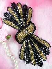 Fs3161 Black Gold Gunmetal Sewing Craft Beaded Applique Motif 5.25""